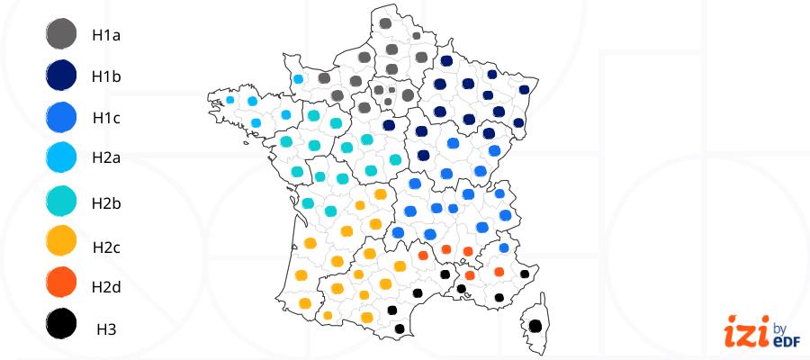 carte de France répartition résistance thermique RT existant