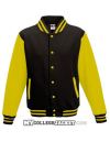Kids 2-Tone College Sweatjacket Black/Yellow Front