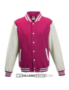 Kids 2-Tone College Sweatjacket Fuchsia/White Front