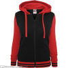 Ladies 2-Tone College Zip Hoody Black/Red Front