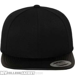 Leather Snapback Black/Black vorne