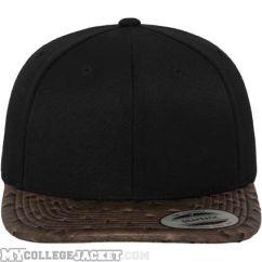 Leather Snapback Black/Ostrich vorne