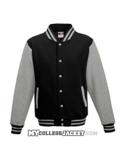 Kids 2-Tone College Sweatjacket Black/Grey Front