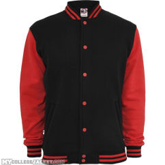 Kids 2-Tone College Sweatjacket Black/Red Front