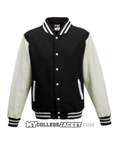 Kids 2-Tone College Sweatjacket Black/White Front