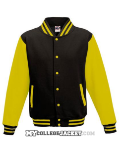 Kids 2-Tone College Sweatjacket Black/Yellow Front