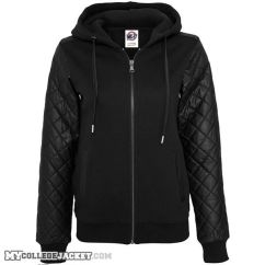 Ladies Diamond Leather Imitation Sleeve Zip Hoody Front