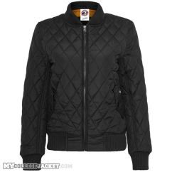 Ladies Diamond Quilt Nylon Jacket Black Front