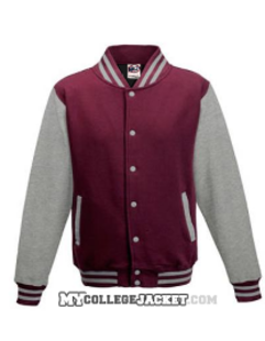 Kids 2-Tone College Sweatjacket Burgundy/Grey Front