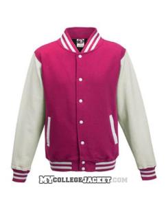 Kids 2-Tone College Sweatjacket Fuchsia/White Front