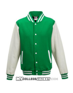 Kids 2-Tone College Sweatjacket green/white Front