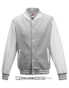 Kids 2-Tone College Sweatjacket Grey/White Front
