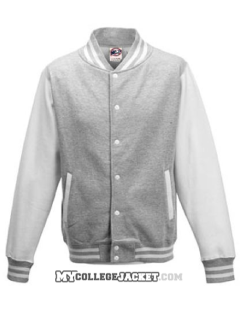 Kids 2-Tone College Sweatjacket Grey/White Front