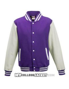 Kids 2-Tone College Sweatjacket Purple/White Front