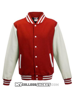 Kids 2-Tone College Sweatjacket Red/White Front