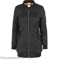 Ladies Long Bomber Jacket Black Front
