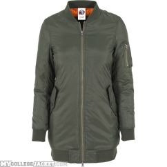 Ladies Long Bomber Jacket Olive Front