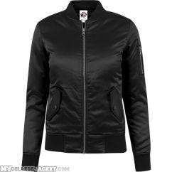 Ladies Satin Bomber Jacket Black Front