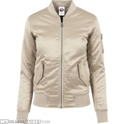 Ladies Satin Bomber Jacket Gold Front