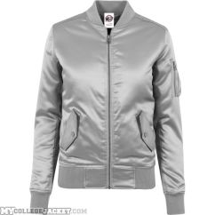 Ladies Satin Bomber Jacket Silver Front