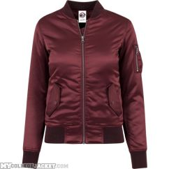 Ladies Satin Bomber Jacket Burgundy Front