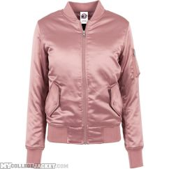 Ladies Satin Bomber Jacket Oldrose Front