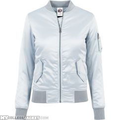 Ladies Satin Bomber Jacket Babyblue Front