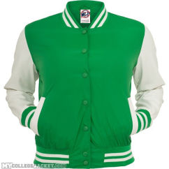 Ladies Light College Jacket Green/White Front