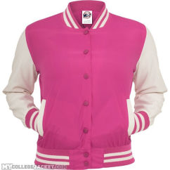 Ladies Light College Jacket Fuchsia/White Front
