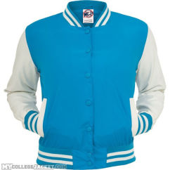 Ladies Light College Jacket Turquoise/White Front