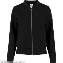 Ladies Imitation Suede Bomber Jacket Black Front