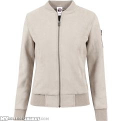 Ladies Imitation Suede Bomber Jacket Sand Front