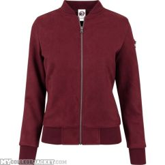 Ladies Imitation Suede Bomber Jacket Burgundy Front