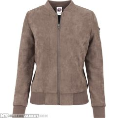 Ladies Imitation Suede Bomber Jacket Taupe Front