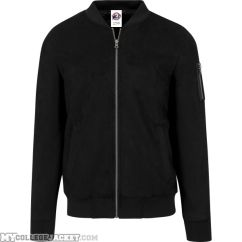 Imitation Suede Bomber Jacket Black Front