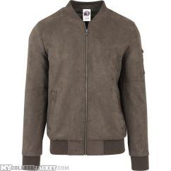 Imitation Suede Bomber Jacket Olive Front