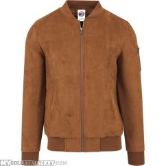 Imitation Suede Bomber Jacket Toffee Front