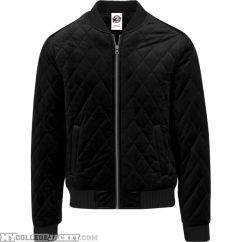 Diamond Quilt Velvet Jacket Black Front