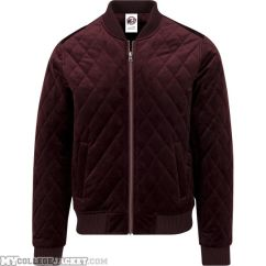 Diamond Quilt Velvet Jacket Burgundy Front