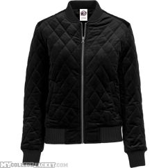 Ladies Diamond Quilt Velvet Jacket Black Front