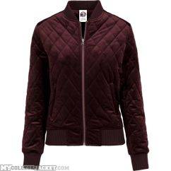 Ladies Diamond Quilt Velvet Jacket Burgundy Front
