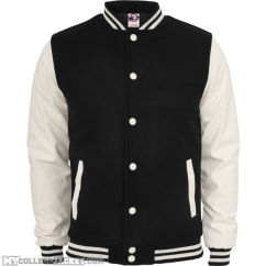 Oldschool College Jacket Black/White Front