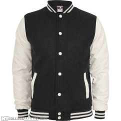 Oldschool College Jacket Charcoal/White Front