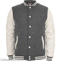 Oldschool College Jacket Grey/White Front