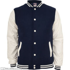 Oldschool College Jacket Navy/White Front