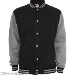 2-Tone College Sweatjacket Black/Grey Front