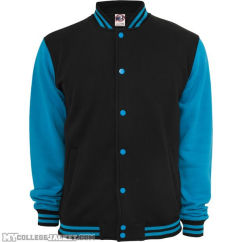 2-Tone College Sweatjacket Black/Turquoise Front
