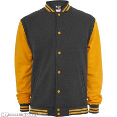 2-Tone College Sweatjacket Charcoal/Orange Front