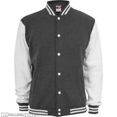 2-Tone College Sweatjacket Charcoal/White Front