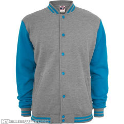 2-Tone College Sweatjacket Grey/Turquoise Front